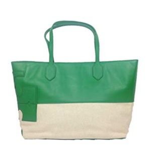 Tory Burch Stacked T Tote Green leather canvas